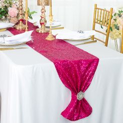 "12""x108"" Sequin Taffeta Table Runner - Fuchsia 01009 (1pc)"