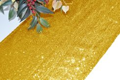 "12""x108"" Sequin Taffeta Table Runner - Gold 01027 (1pc)"