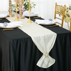 "12""x108"" Sequin Taffeta Table Runner - Ivory 01002 (1pc)"