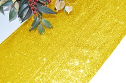 "12""x108"" Sequin Taffeta Table Runner - Light Gold 01003 (1pc)"