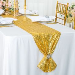 "12""x108"" Sequin Taffeta Table Runner - Light Gold 01077 (1pc)"