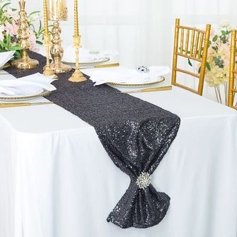 """12""""x108"""" Sequin Taffeta Table Runner - Pewter / Charcoal 01060 (1pc)"""