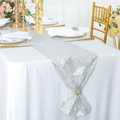 "12""x108"" Sequin Taffeta Table Runner - Platinum 01071 (1pc)"