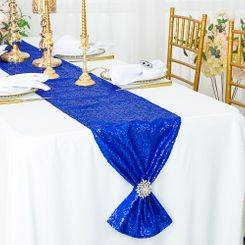 "12""x108"" Sequin Taffeta Table Runner - Royal Blue 01022 (1pc)"