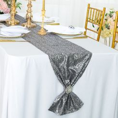"12""x108"" Sequin Taffeta Table Runner - Silver 01040 (1pc)"