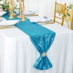 "12""x108"" Sequin Taffeta Table Runner - Turquoise 01085 (1pc)"