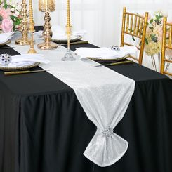 "12""x108"" Sequin Taffeta Table Runner - White 01001 (1pc)"