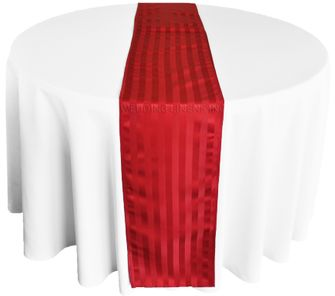 """12""""x108"""" Striped Jacquard Polyester Table Runners - Apple Red 86108(1pc)"""