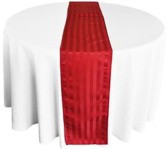 "12""x108"" Striped Jacquard Polyester Table Runners - Apple Red 86108(1pc)"