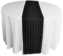 "12""x108"" Striped Jacquard Polyester Table Runners - Black 86139(1pc)"