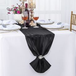 """12""""x108"""" Striped Jacquard Polyester Table Runners - Black 86139(1pc)"""