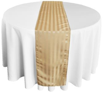 """12""""x108"""" Striped Jacquard Polyester Table Runners - Champagne 86128(1pc)"""