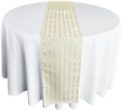 "12""x108"" Striped Jacquard Polyester Table Runners - Ivory 86102 (1pc)"
