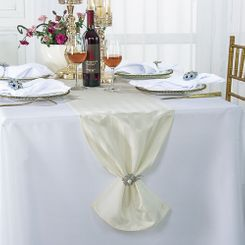 """12""""x108"""" Striped Jacquard Polyester Table Runners - Ivory 86102 (1pc)"""