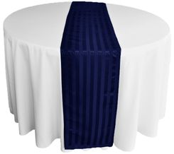 "12""x108"" Striped Jacquard Polyester Table Runners - Navy Blue 86123 (1pc)"