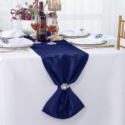 """12""""x108"""" Striped Jacquard Polyester Table Runners - Navy Blue 86123 (1pc)"""