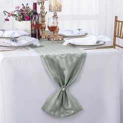 """12""""x108"""" Striped Jacquard Polyester Table Runners - Silver 86140(1pc)"""