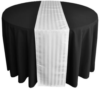 """12""""x108"""" Striped Jacquard Polyester Table Runners - White 86101(1pc)"""