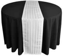 "12""x108"" Striped Jacquard Polyester Table Runners - White 86101(1pc)"
