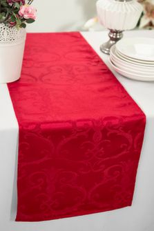 "12""x108"" Versailles Chopin Jacquard Damask Polyester Table Runners - Apple Red 92108(1pc)"