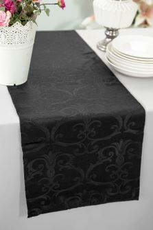 "12""x108"" Versailles Chopin Jacquard Damask Polyester Table Runners - Black 92139 (1pc)"