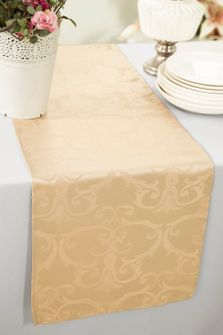 "12""x108"" Versailles Chopin Jacquard Damask Polyester Table Runners - Champagne 92128 (1pc)"