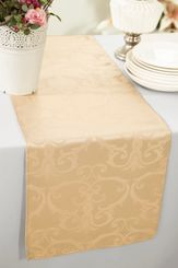 """12""""x108"""" Versailles Chopin Jacquard Damask Polyester Table Runners - Champagne 92128 (1pc)"""