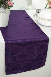"""12""""x108"""" Versailles Chopin Jacquard Damask Polyester Table Runners - Eggplant 92145 (1pc)"""
