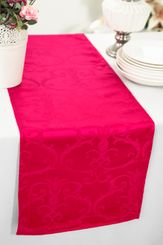 """12""""x108"""" Versailles Chopin Jacquard Damask Polyester Table Runners - Fuchsia 92109 (1pc)"""