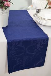 """12""""x108"""" Versailles Chopin Jacquard Damask Polyester Table Runners - Navy Blue 92123 (1pc)"""