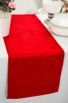 "12""x108"" Versailles Chopin Jacquard Damask Polyester Table Runners - Red 92112(1pc)"