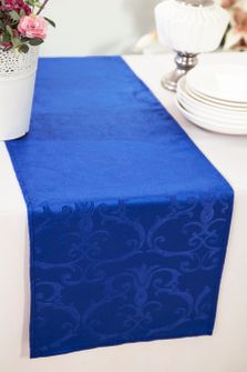 """12""""x108"""" Versailles Chopin Jacquard Damask Polyester Table Runners - Royal Blue 92122 (1pc)"""