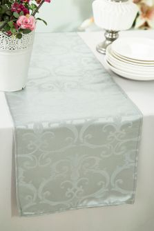 "12""x108"" Versailles Chopin Jacquard Damask Polyester Table Runners - Silver 92140 (1pc)"