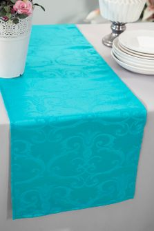 """12""""x108"""" Versailles Chopin Jacquard Damask Polyester Table Runners - Turquoise 92185 (1pc)"""