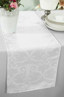 """12""""x108"""" Versailles Chopin Jacquard Damask Polyester Table Runners - White 92101(1pc)"""