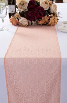 "12""x108"" Water Lily Raschel Lace Table Runners - Blush Pink 91415 (1pc/pk)"