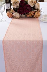 """12""""x108"""" Water Lily Raschel Lace Table Runners - Blush Pink 91415 (1pc/pk)"""