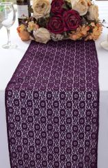 """12""""x108"""" Water Lily Raschel Lace Table Runners - Eggplant 91445 (1pc/pk)"""