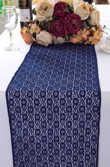 """12""""x108"""" Water Lily Raschel Lace Table Runners - Navy Blue 91423 (1pc/pk)"""