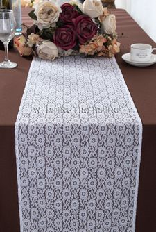 """12""""x108"""" Water Lily Raschel Lace Table Runners - White 91401 (1pc/pk)"""