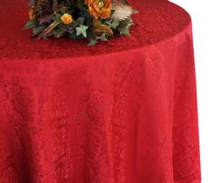 """120"""" Marquis Jacquard Damask Polyester Tablecloth - Apple Red 98608 (1pc/pk)"""