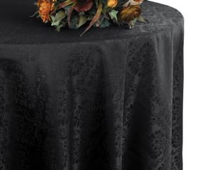 "120"" Marquis Jacquard Damask Polyester Tablecloth - Black 98639 (1pc/pk)"