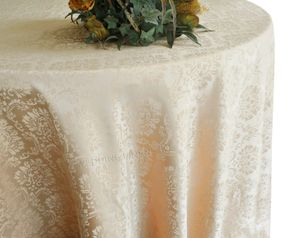 "120"" Marquis Jacquard Damask Polyester Tablecloth - Champagne 98628 (1pc/pk)"
