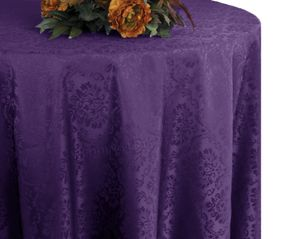"120"" Marquis Jacquard Damask Polyester Tablecloth - Eggplant 98645 (1pc/pk)"