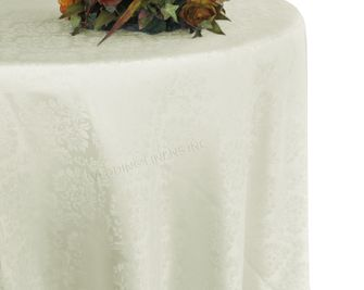 "120"" Marquis Jacquard Damask Polyester Tablecloth - Ivory 98602 (1pc/pk)"
