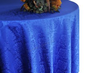 "120"" Marquis Jacquard Damask Polyester Tablecloth - Royal Blue 98622 (1pc/pk)"