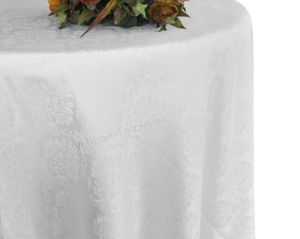 "120"" Marquis Jacquard Damask Polyester Tablecloth - White 98601 (1pc/pk)"