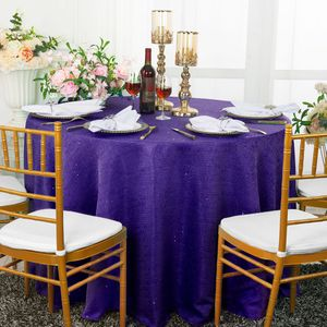 "120"" Round Paillette Poly Flax / Burlap Tablecloths (10 Colors)"