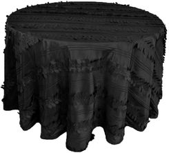 "120"" Round Forest Taffeta Tablecloths - Black 67939(1pc/pk)"