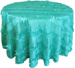 "120"" Round Forest Taffeta Tablecloths - Tiff Blue / Aqua Blue 67918(1pc/pk)"